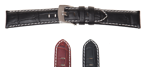Padded Crocodile Grain Leather Watch Strap
